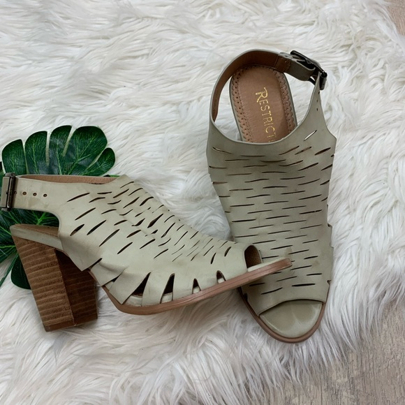 Restricted Shoes - Restricted Taupe Peep Toe Stack Block Heels C3357